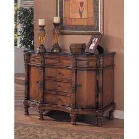 Coaster Beautiful Black Marble Top Entry Way Accent Bombe Chest $505.53