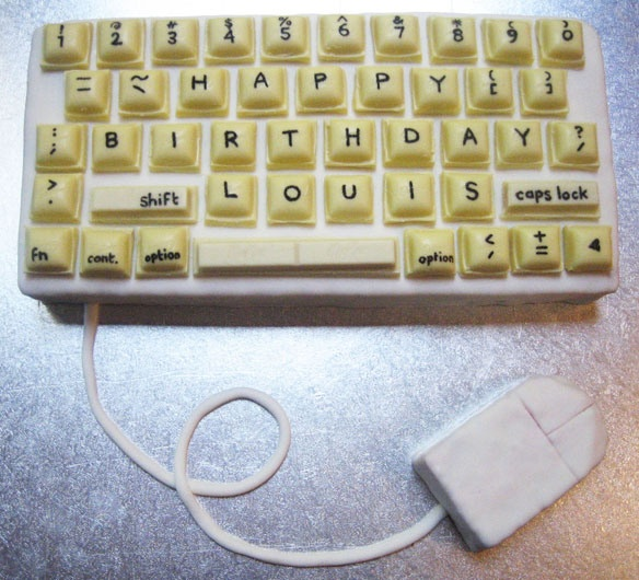 Old-school computer keyboard birthday cake.