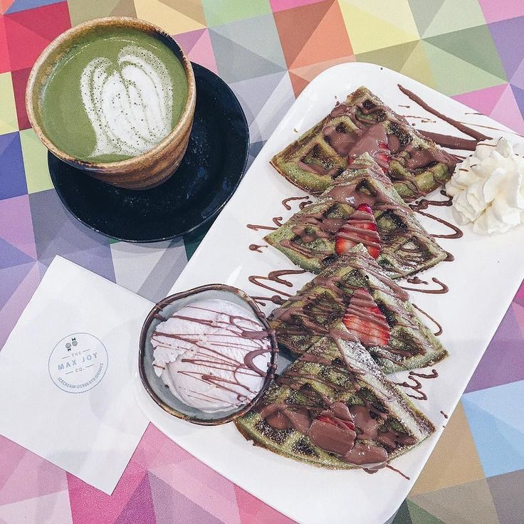 Here's what heaven looks like. Matcha waffles lavender icecream and matcha white chocolate latte    @nat_sweetdiary  . Want to create your own zen? Try our Ultra Premium Green Tea today. Link in bio!