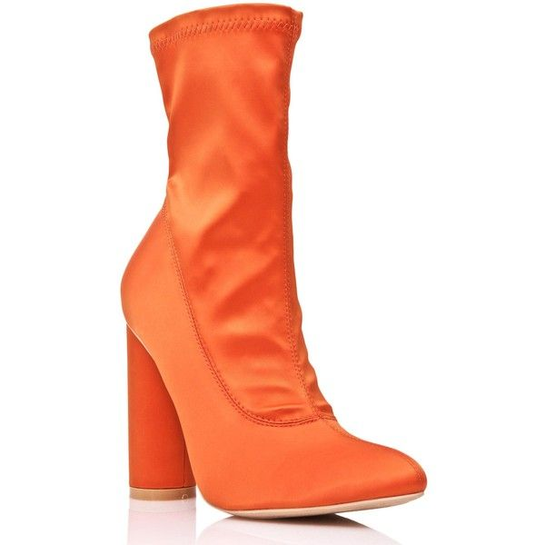 Orange Satin Ankle Boots ($48) ❤ liked on Polyvore featuring shoes, boots, ankle booties, mid-calf boots, block heel bootie, block heel ankle boots, pointy toe bootie and pointed toe booties