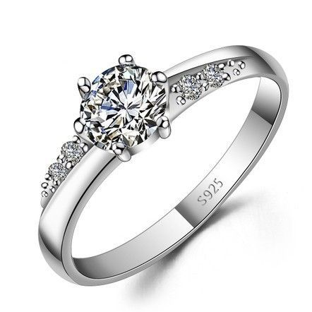 custom name engraved zircon promise ring for her. Black Bedroom Furniture Sets. Home Design Ideas
