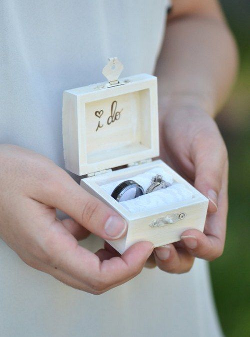 Vintage chic I DO ring bearer box / http://www.deerpearlflowers.com/rustic-wood-ring-boxes/
