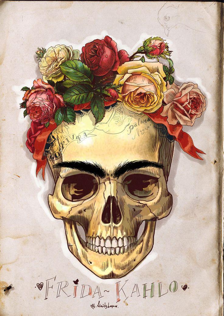 frida-kahlo-skull-ilustracion