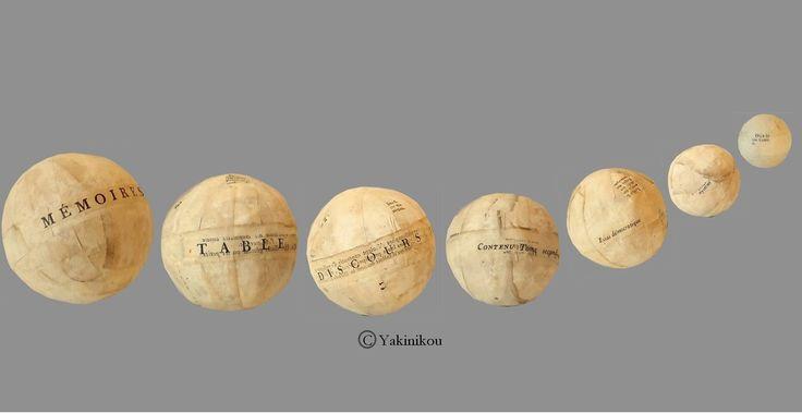 """""""7 jours pour changer le monde""""  7 boules ... ancien papier livre début 19è siècle."""
