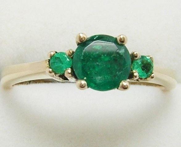 Colombian Emerald Ring 3 Round .65 Cts 14K Gold Ring Size 7US Fine Jewelry Muzo  #HandmadeByCeCi #ThreeStone #Engagement