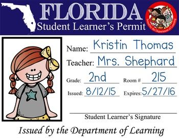 ROAD TRIP Theme Classroom Decor - Student Learner's Permit Give your students a permit to LEARN.  This product contains 50 Jpegs which you can print and distribute to your students as you travel the country on your ROAD TRIP.  With the Jpeg images, you can print various sizes (just as you would a jpeg image from your digital camera).