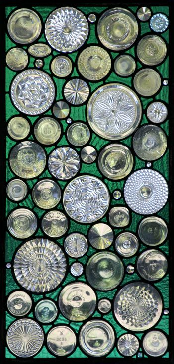 #Stained #glass #window using recycled #bottles, #plates and #vase bottoms