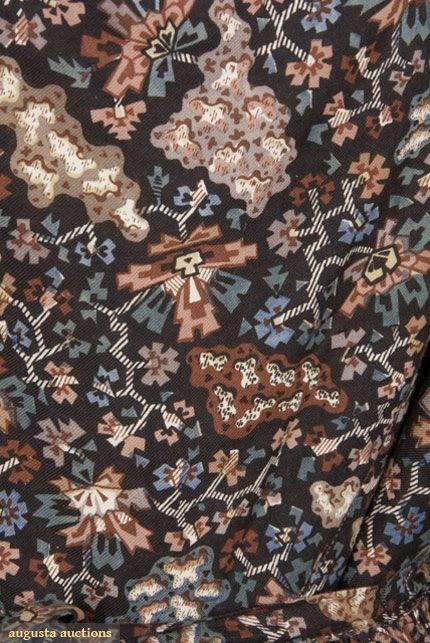 ABSTRACT FLORAL ON BLACK PRINTED DRESS, 1830s