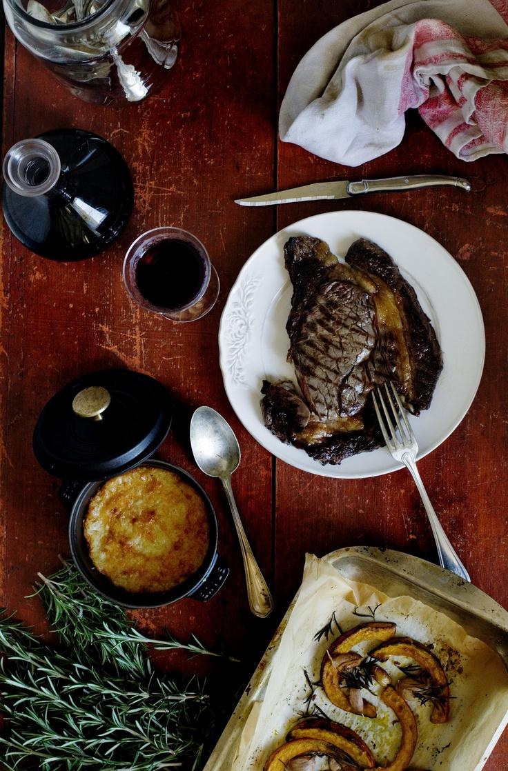 My perfect September meal - juicy entrecôte steak, pumpkin gratin with Comté cheese & roasted pumpkin.  www.mimithorisson.com