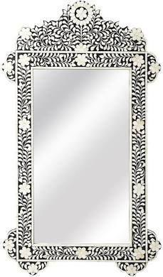 Wall Mirror Mother Of Pearl - Black | Handmade Moroccan Mirror Boho