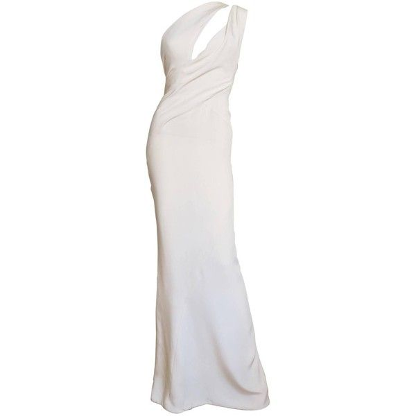Fabulous J Mendel One Shoulder Plunge Cutout Gown ($2,720) ❤ liked on Polyvore featuring dresses, gowns, white gown, white cut out dress, one shoulder gown, one shoulder dress and white silk gown