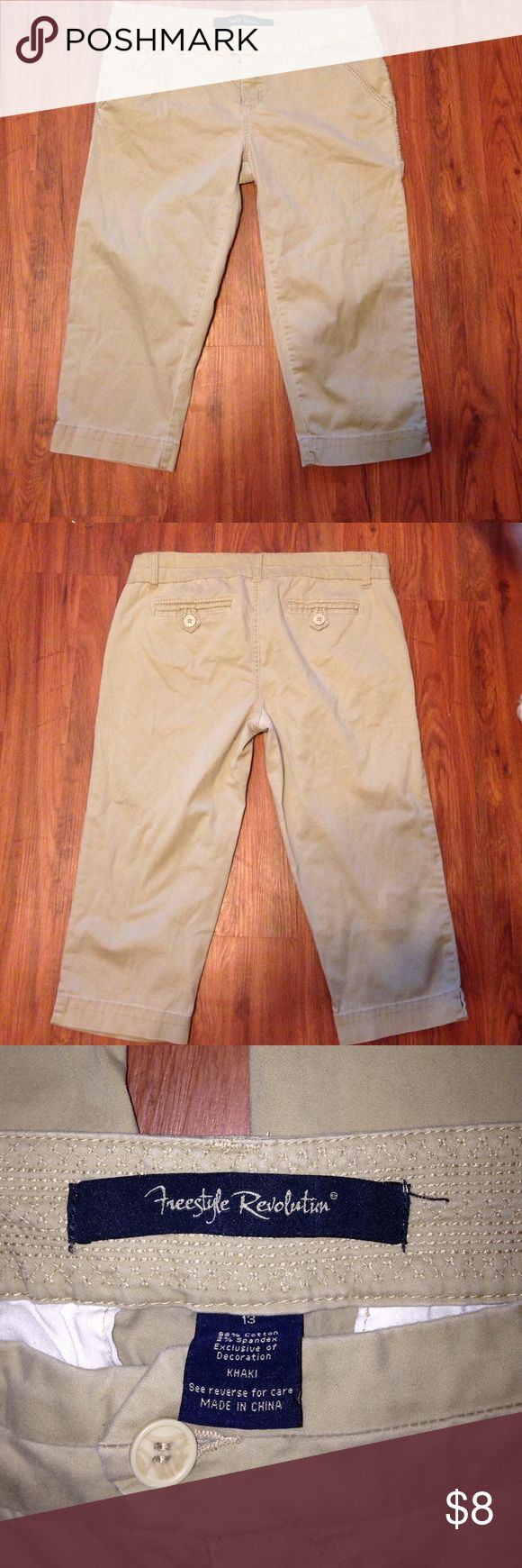 Freestyle Revolution khaki capris size 13 Nice pair of khaki capris size 13 Freestyle Revolution. From a smoke free home with fur baby 🐶 Freestyle Revolution Pants Capris
