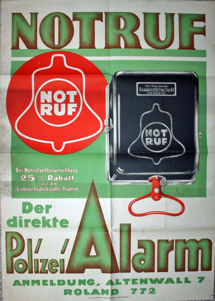 Seltenes original Plakat Polizei Notruf um 1920 - Lithgrapie Police 90 x 65 cm | eBay