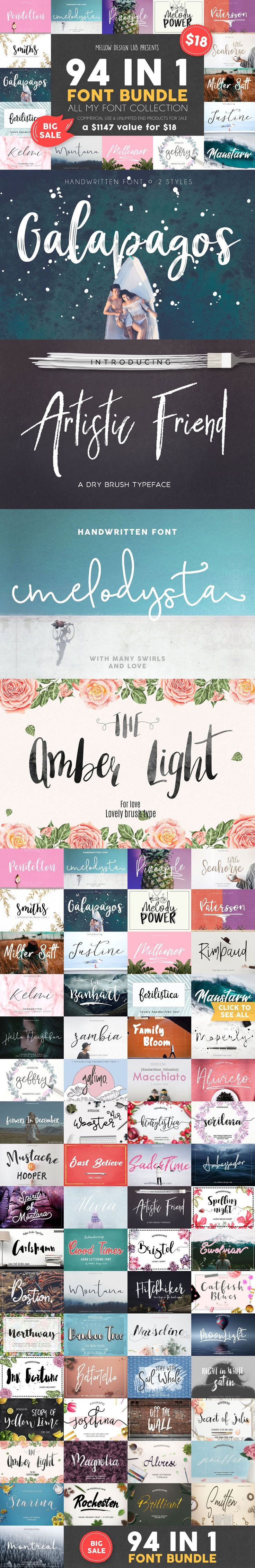94 IN 1 Font Bundle SALE ( #typography #retro #logodesign #print #inspiration #typeface #decorative #scrapbooking #watercolor #fashion #lettering #quotes )