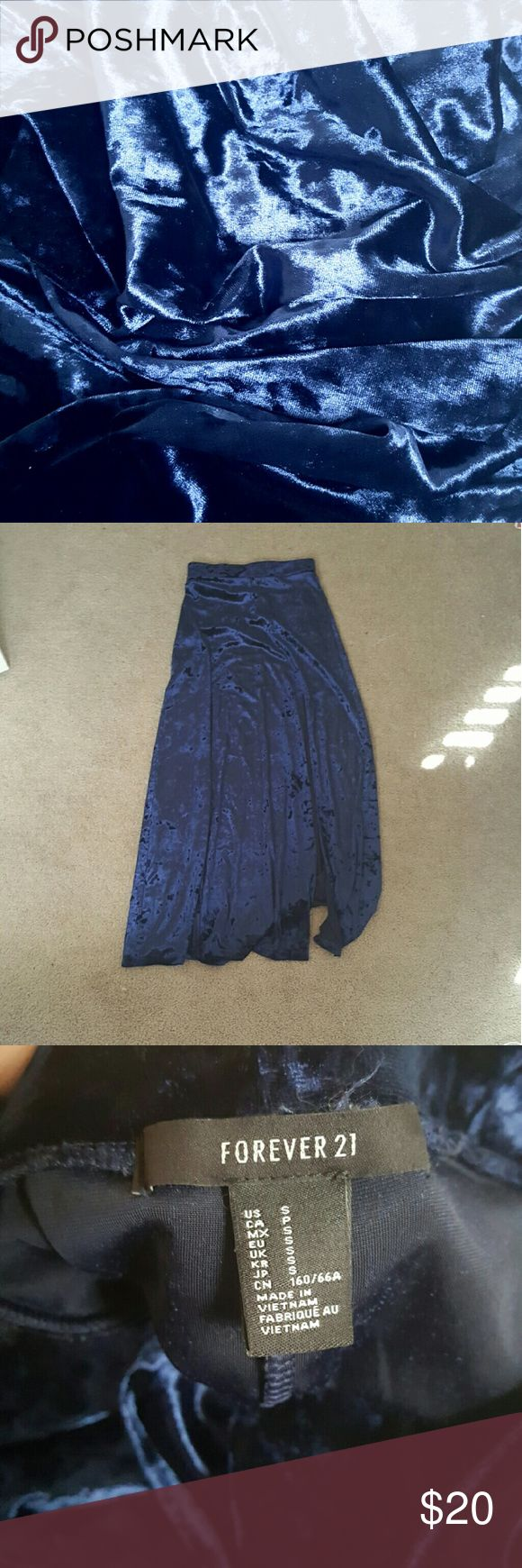 "Velvet maxi skirt Deep royal blue velvet maxi skirt, worn a couple of times, its very long im 5'3"" and i use it as a high waisted maxi skirt and it still brushes the floor, its very beautiful and oerfect for those goth or grunge looks, will take offers, no lowballing Forever 21 Skirts Maxi"