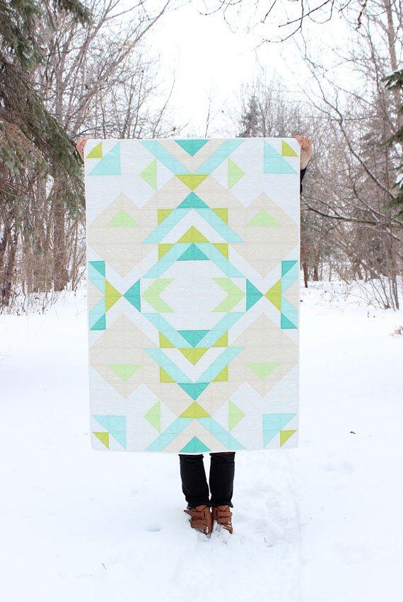 Geometric Aqua Blue Green White quilt // Melissa Harvey
