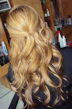 half up. I would do this when my layers were growing too long or it was time to wash my hair. Its so pretty.