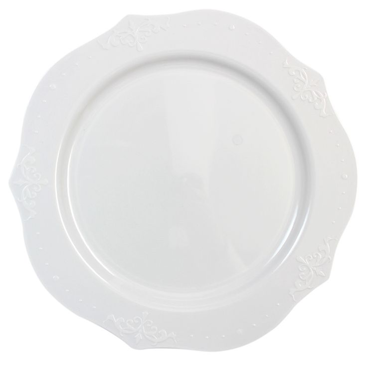 "Posh Party Supplies - 9"" White Plastic Dinner Plates - Antique Collection , $6.59 (http://www.poshpartysupplies.com/posh-products/elegant-plastic-wedding-and-paper-plates/9-white-plastic-dinner-plates-antique-collection/)"