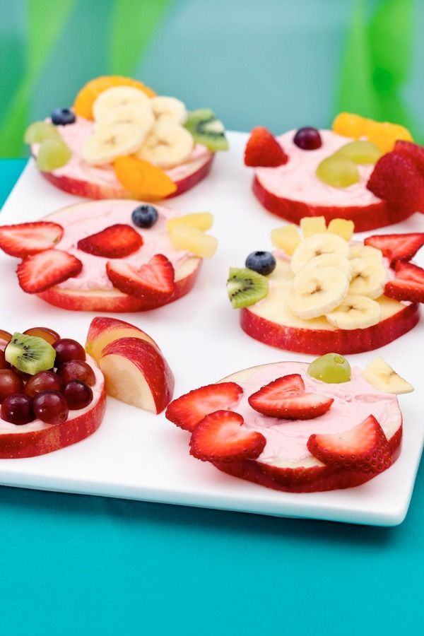 """These party-ready guppy apple slices can be decorated with whatever fruit you have on hand (think grapes, strawberries, kiwi and orange slices) and make a great alternative to cake at a party. The kids can even pitch in to customize their own """"fish."""" Says Betty member Mommomdonnag, """"So easy and cute for the grands!"""""""