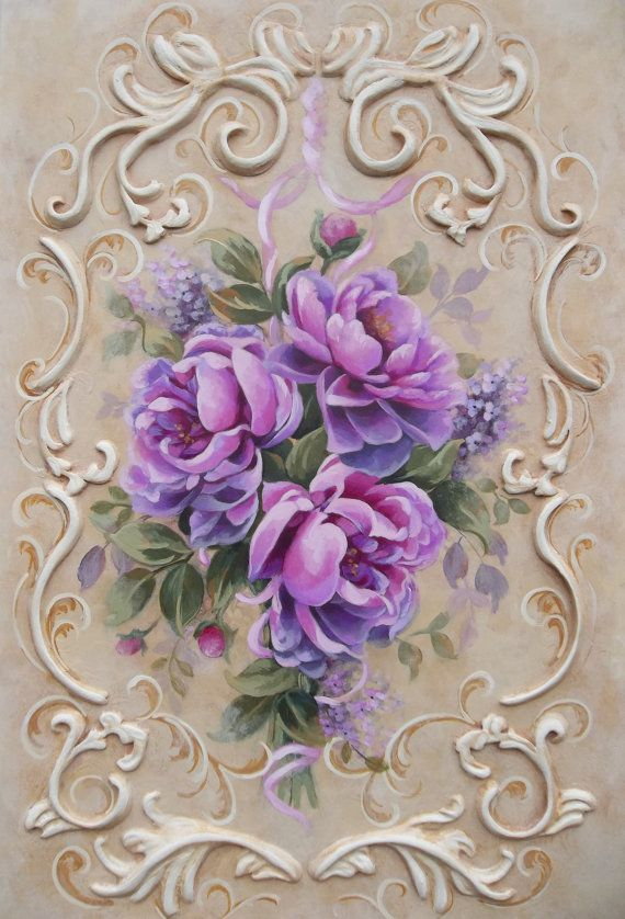 vintage floral painting rose French Rococo Victorian shabby
