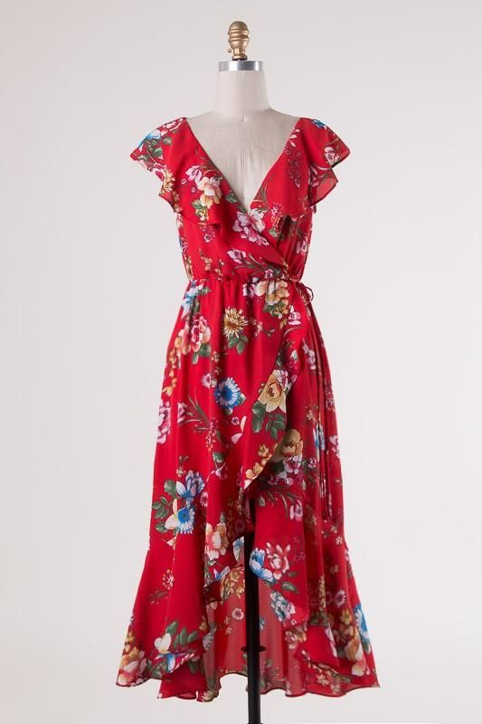 3f4e301d89f9 Red Floral Wrap Dress | Products | Wrap dress floral, Wrap dress, Dresses