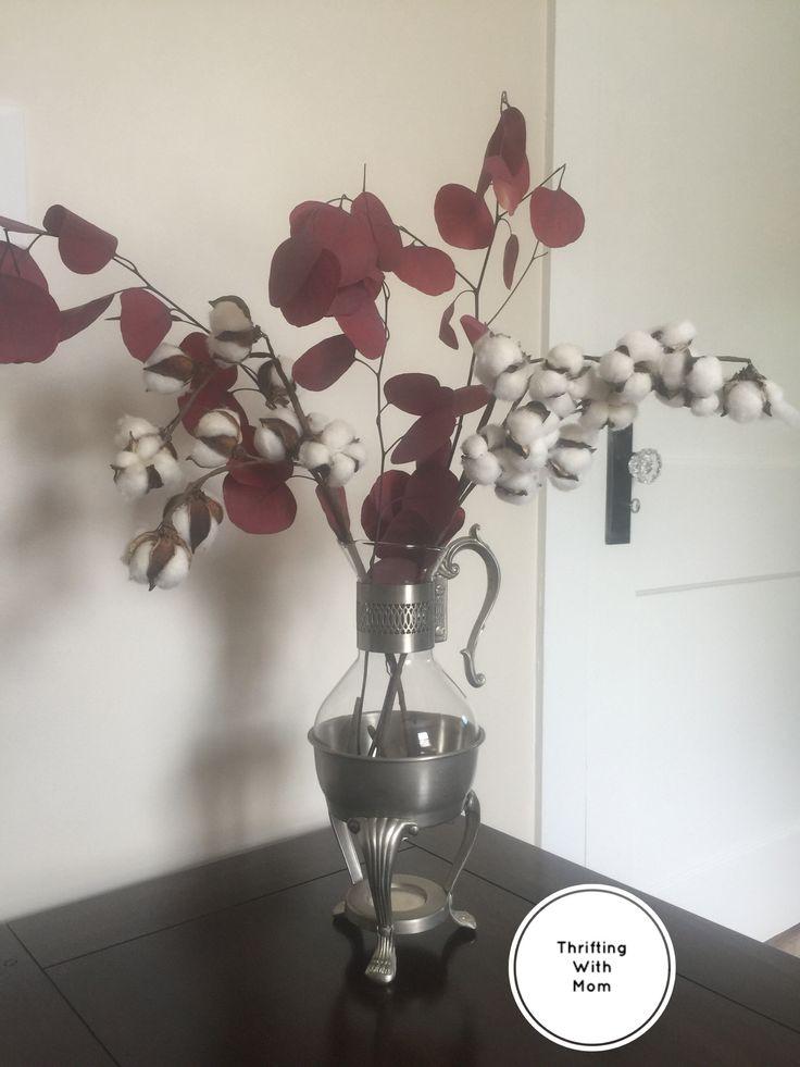 $25.00 - F.B. Rogers Glass Pitcher Vintage Pewterlite Coffee Tea Lemonade Corning Glass Warmer Coffee Carafe Unique Flower Vase