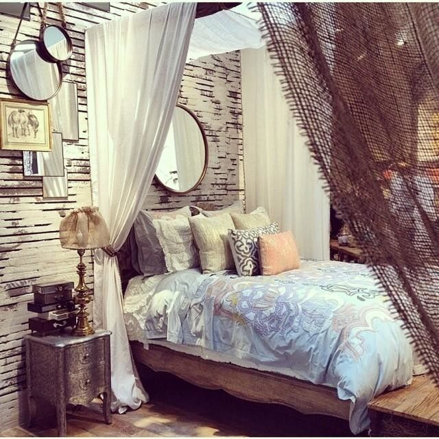 gorgeous anthropologie bedroom. Need drapes on this side of bed for privacy with visitors