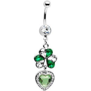 Irish Love Shamrock Belly Ring - Shamrock Body Piercing Jewelry: Gifts for St. Patrick's Day