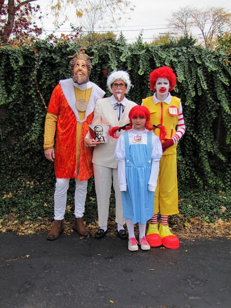 Burger King, Colonel Sanders, Ronald McDonald, & Wendy Halloween costume idea for group or family (website has other great group costumes, so definitely check it out)