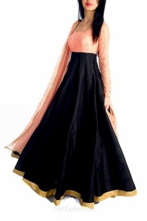 Black anarkali with coral pink sequins