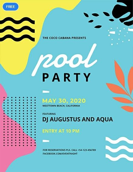 Free Pool Party Flyer Party Flyer designs Pinterest Party