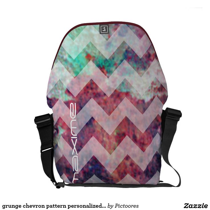grunge chevron pattern personalised by name courier bag
