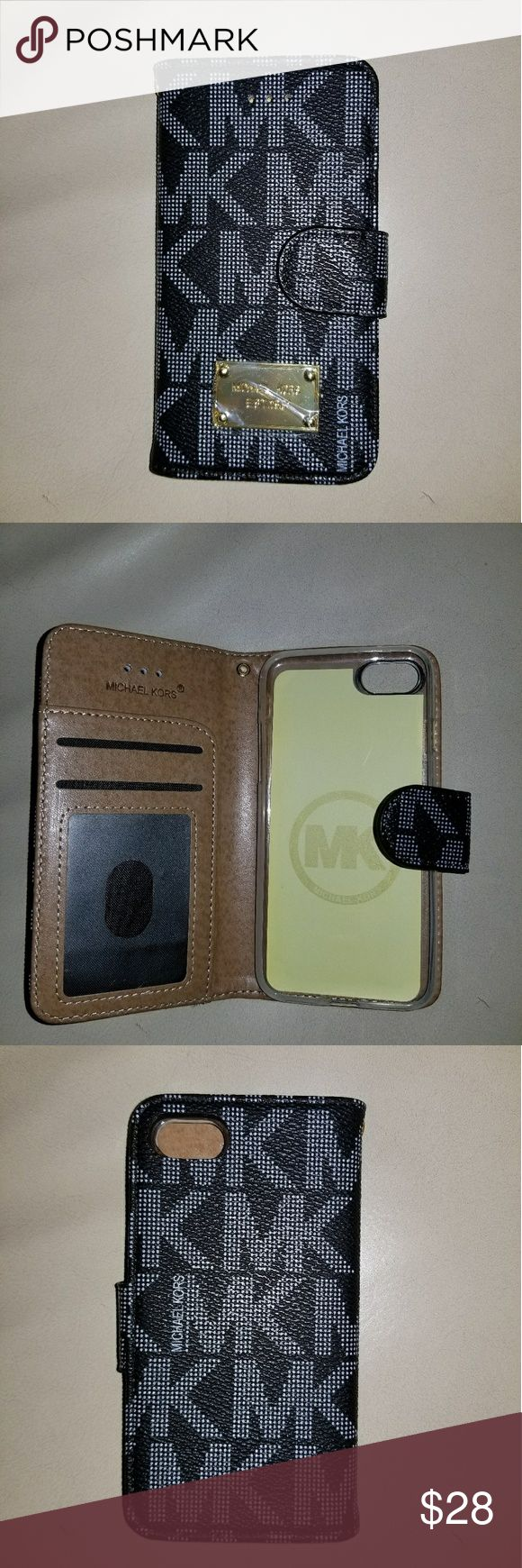 New MK Black Case Wallet for iPhone 7 Flip Case Wallet, has room for cards and cash. Turns into a stand too. Has a stunning bling magnetic clasp that keeps the case closed  Easy access to control ports, cameras and buttons Protect your cell phone from damage scratches, shock Luxury case Michael Kors Accessories Phone Cases