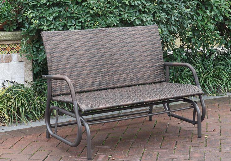 $174 Amazon.com : 1PerfectChoice Outdoor Patio Yard Glider Loveseat Bench High Back PE Wicker Rattan Iron Frame Color Espresso : Patio, Lawn & Garden