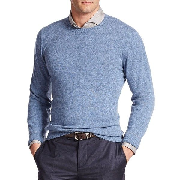 Brunello Cucinelli Crewneck Cashmere Sweater ($1,060) ❤ liked on Polyvore featuring men's fashion, men's clothing, men's sweaters, apparel & accessories, blue, mens blue sweater, mens cashmere sweaters, mens crewneck sweaters and mens crew neck sweaters