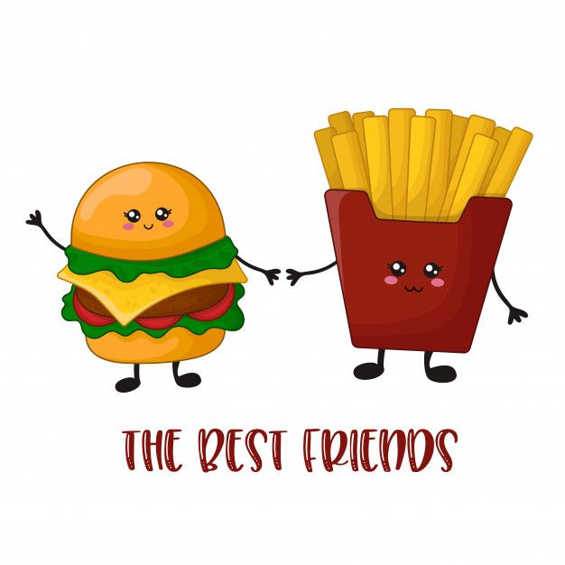 Cartoon Kawaii Fast Food Hamburger And French Fries Papas Fritas Dibujo Papa Animado Hamburguesas