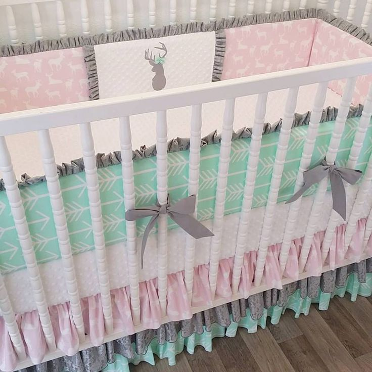 MADE TO ORDER--Crib Bedding- Girl Baby Bedding- Deer Nursery Bedding- Gray Pink Mint by LittleCharlieMay on Etsy