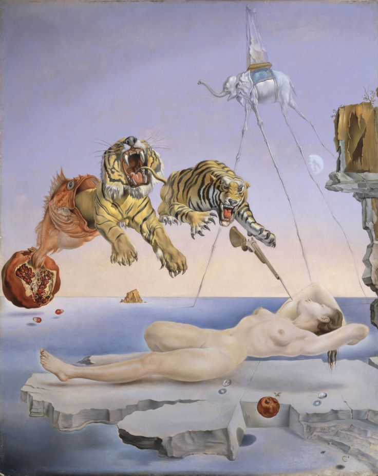 Dream Caused by the Flight of a Bee Around a Pomegranate a Second Before Awakening by Salvador Dali, 1944 | Thyssen-Bornemisza Museum, Madrid.