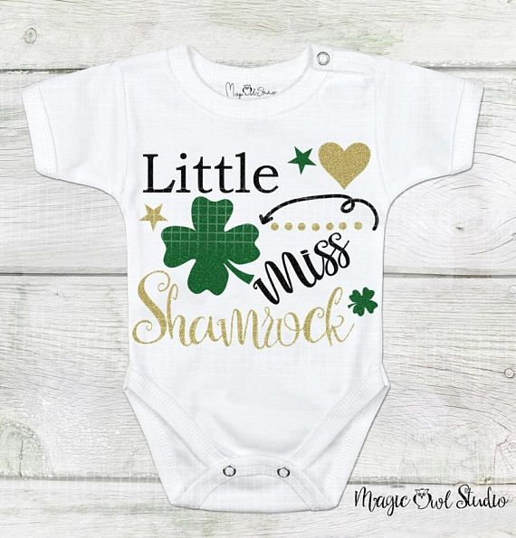 Little Miss Shamrock St. Patrick's Day Svg Glittered Shamrocks and Hearts Irish Holiday Svg Digital Download Cutting Files Eps Png Dxf Jpg