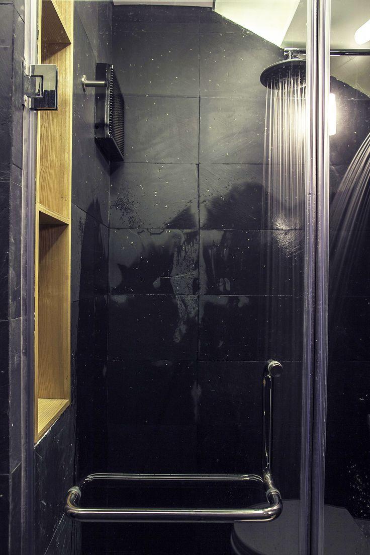 Apartment Renovation under Hanoi Interior as Shower Room Design Among Black Interior Decoration under Minimalist Touch as Home Inspiration