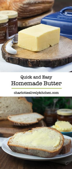 Making your own butter is quick, easy and fun. This simple recipe will have you making your own butter in minutes.