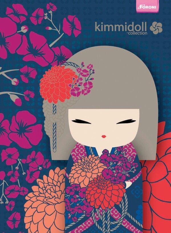geisha doll blue and flowers