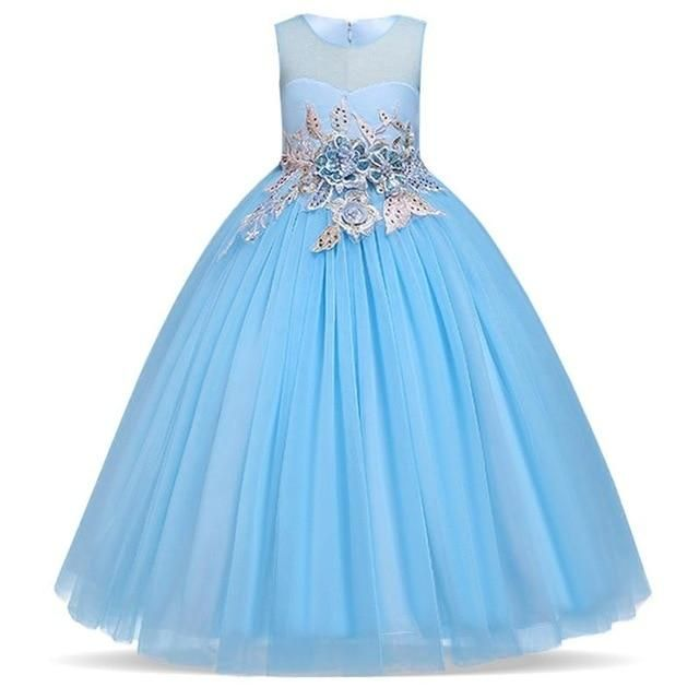 As meninas vestem vestido de festa de manga comprida Vestido de casamento elegante para meninas Roupas de crianças Roupas Vestido de princesa   – Girls' beauty