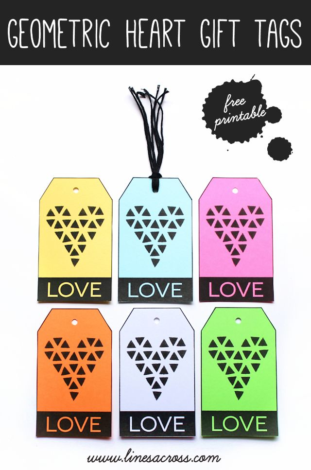 """Lines Across"": Geometric Heart Gift Tags (Free Printable): Heart Tags, Heart Gifts, Printables Geometric, Geometric Heart, Gift Tags, Gifts Idea, Diy'S Gifts, Gifts Tags, Free Printables"