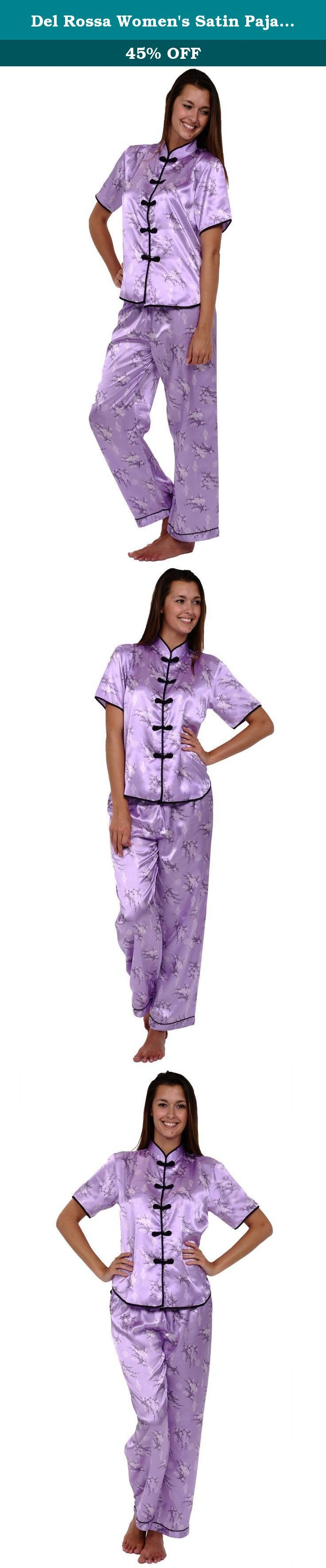 Del Rossa Women's Satin Pajamas, Chinese Inspired Pj Set, Medium Purple (A0728PURMD). This women's satin pajama set from Alexander Del Rossa is comfortable, durable, and classy. Made from premium 100% polyester satin fabric, this women's pj set is cool and easy on the skin. Designed with you in mind, these classic ladies pajamas are perfect for lounging around the house - even when guests are present. Rich in features, we trust that this satin pajama set for women will not disappoint…