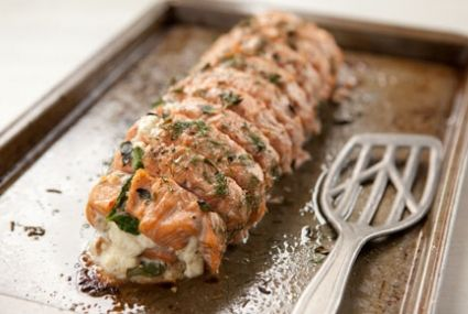 Roasted Salmon Stuffed with Spinach, Feta and Ricotta