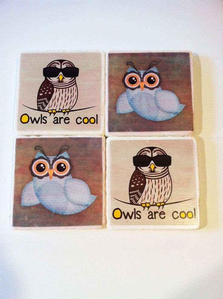 New owl designs now available! Drink coasters by 5 Creations Handmade Decor