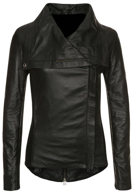 Women Black Leather Jacket Women Wide Collar By