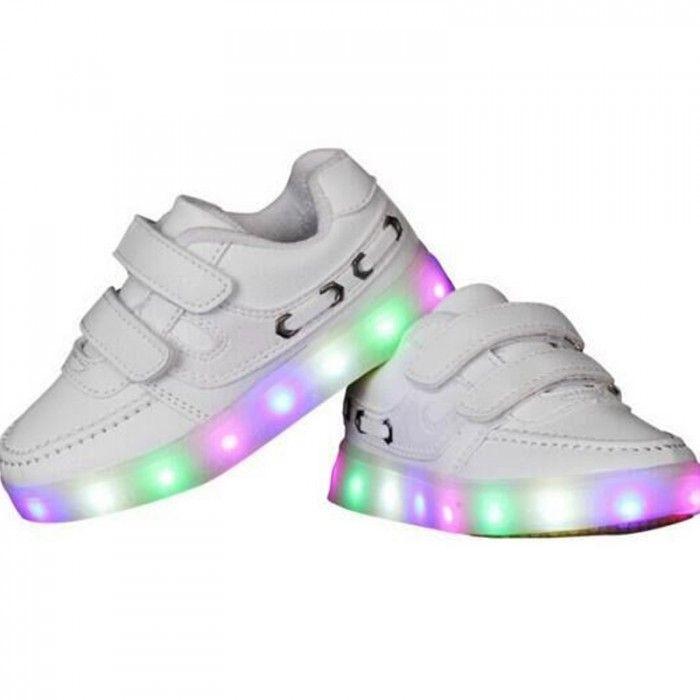 Chaussure Lumineuse Led Enfant Velcro Blanc, Basket Led Enfant BATTERIES RECHARGEABLE