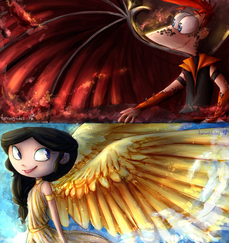Phineas and Ferb. Dragon-like Phineas and Angel Isabella! :D By TurningTides.deviantart.com on @DeviantArt